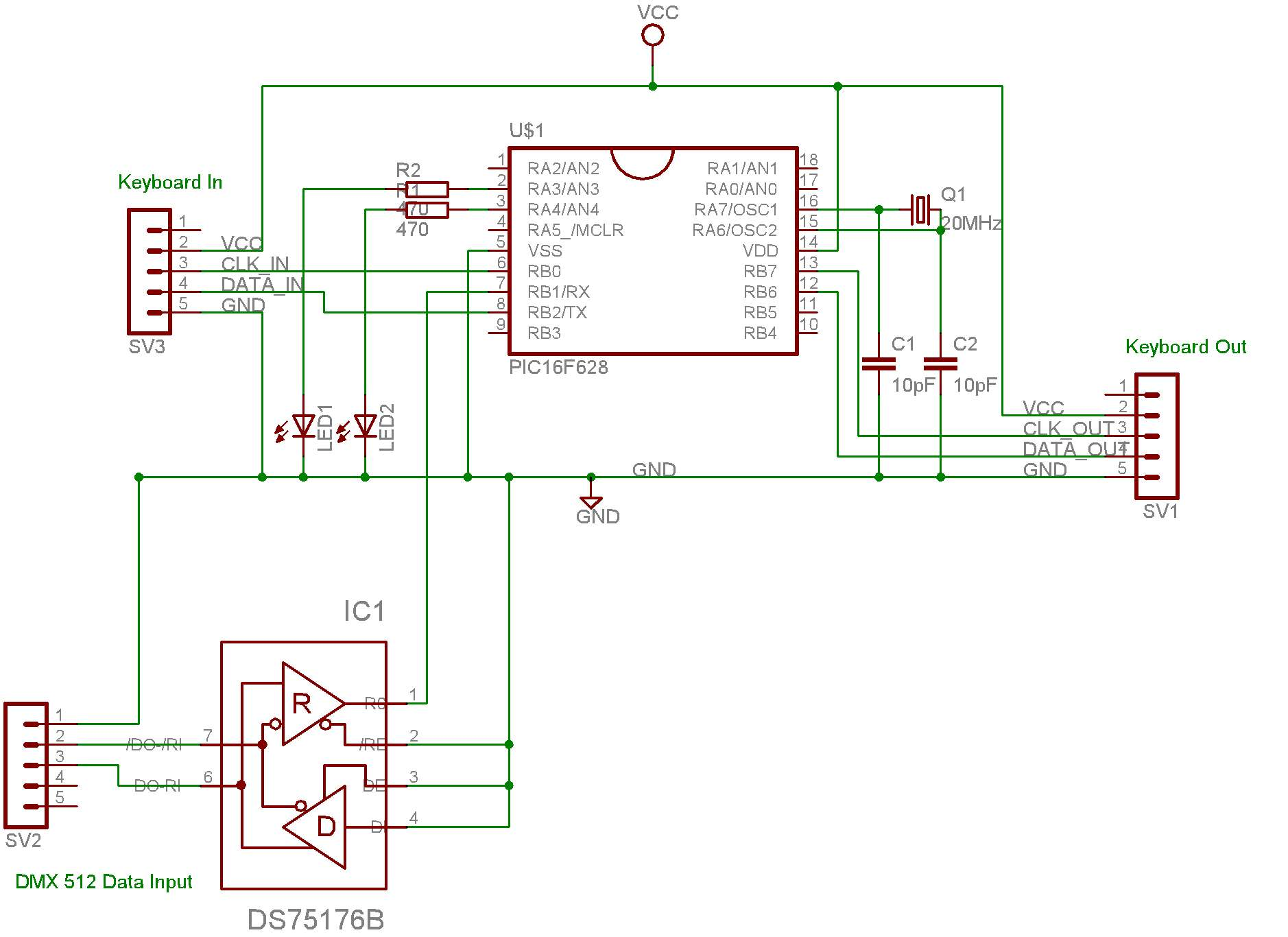 Dmx Pc Keyboard Interface Schematic Diagram Schematics As Image