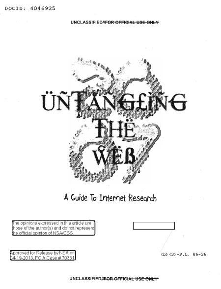 Untangling the web book from NSA
