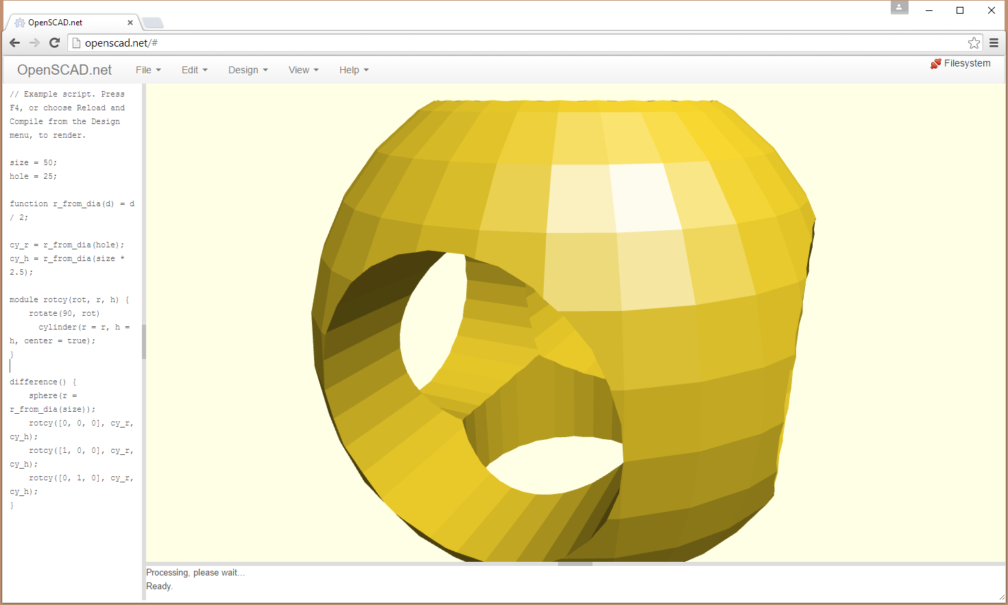 Cad tools for programmers Web based 3d modeling
