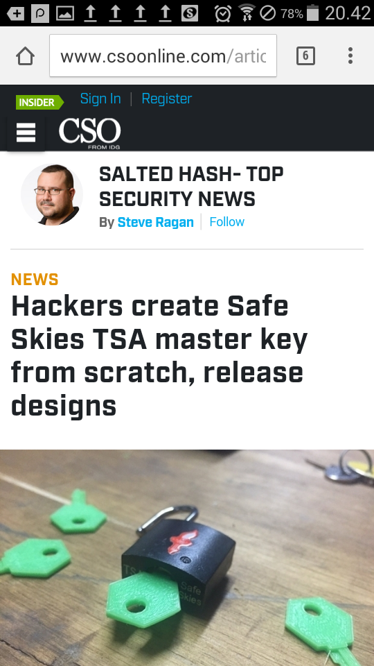 Hackers Create Safe Skies Tsa Master Key From Scratch
