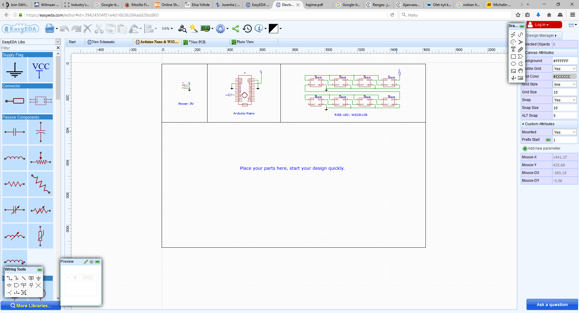 Easyeda Circuit Board Design Schematic With Pcb Layout Capture Software Free It Was Pretty Easy To Use The Tool Convert A I Opened Moved Components Suitable Locations