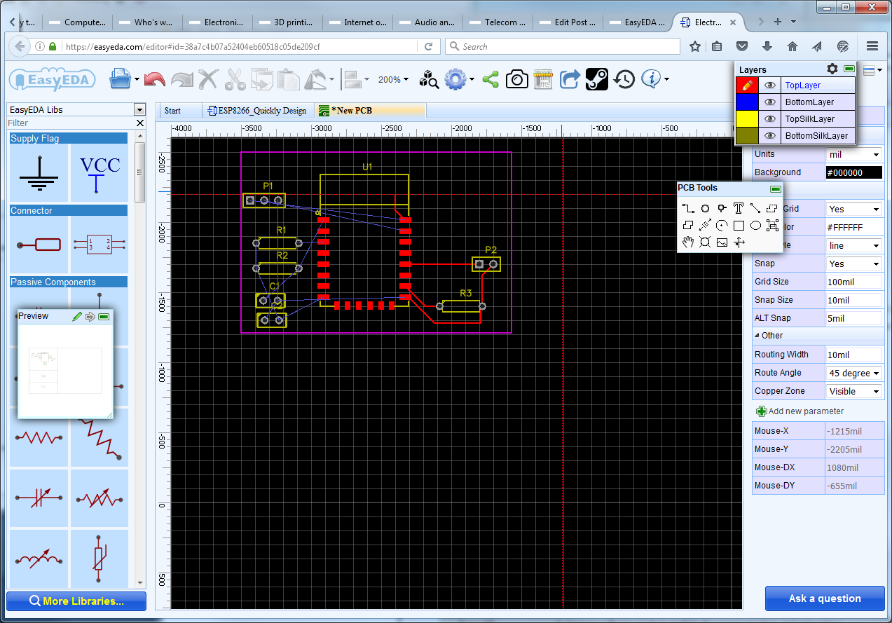 Easyeda Circuit Board Design How To Build Pcb Online Using Web Based Eda Tools Electronic Esp8266