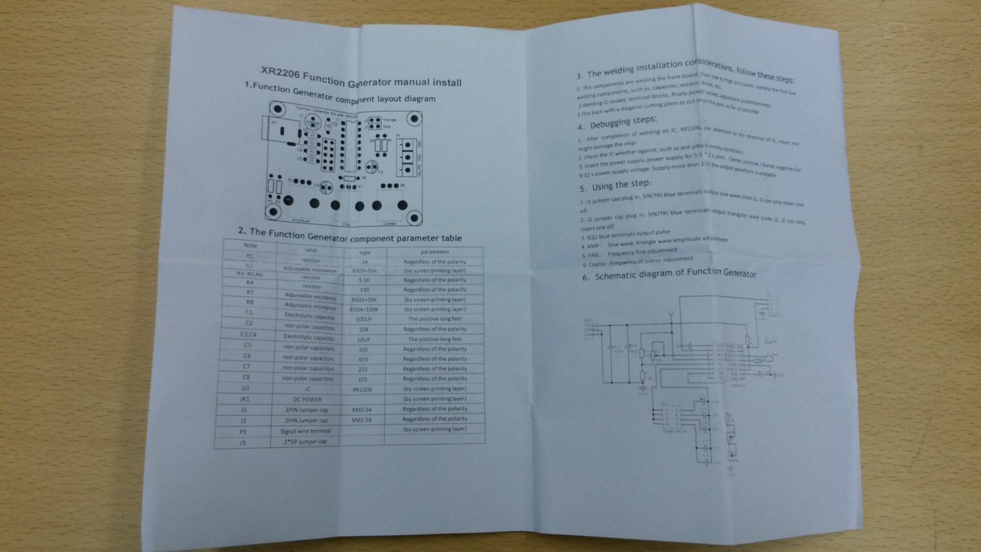 Function Generator Kit Working Of Circuit Came With Instructions That Had Full Diagram