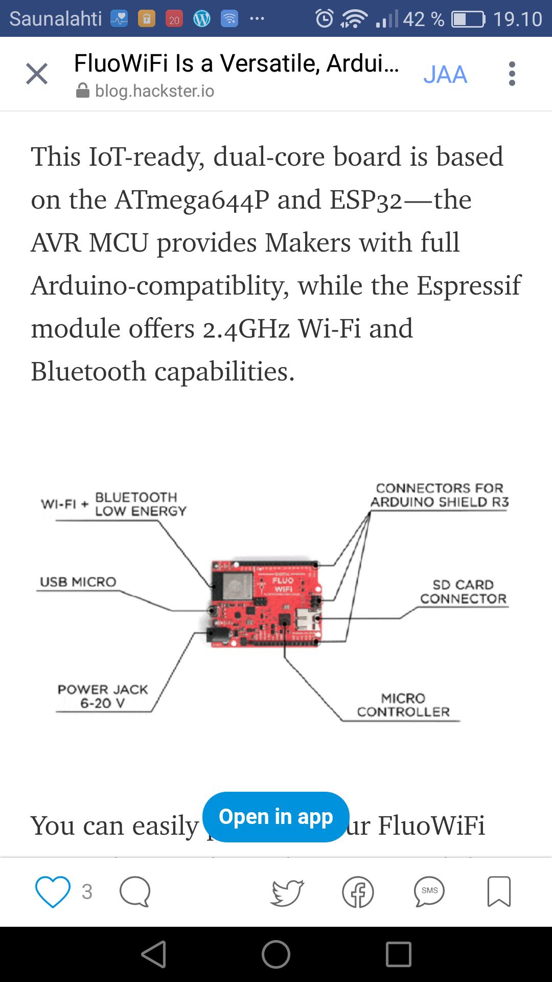 Fluowifi is a versatile arduino compatible iot board