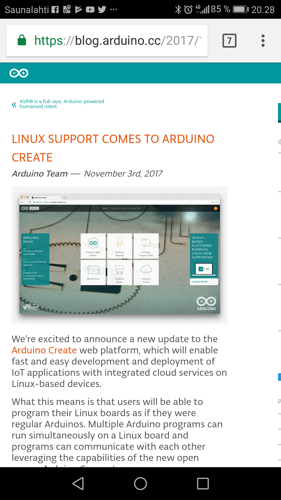 Arduino linux support comes to create